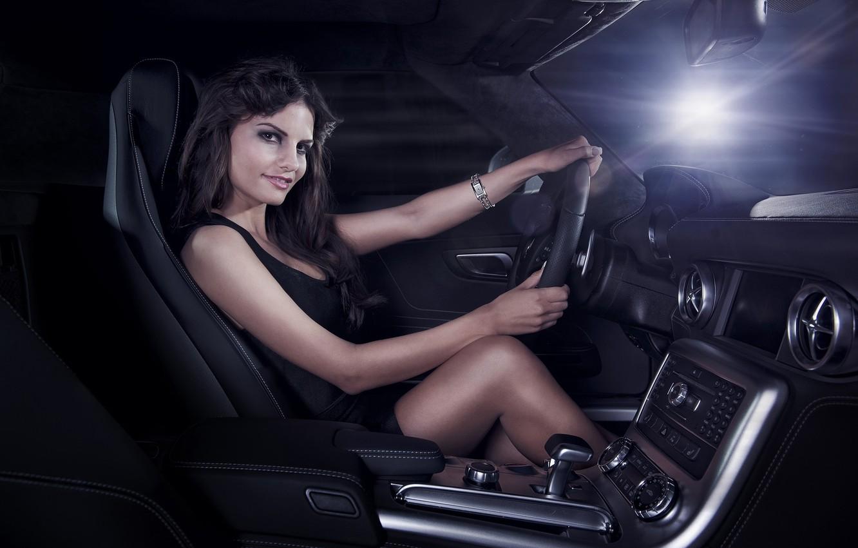 Photo wallpaper girl, tuning, Mercedes-Benz, interior, flash, supercar, salon, AMG, SLS, tuning, Inden Design, Katja Runiello