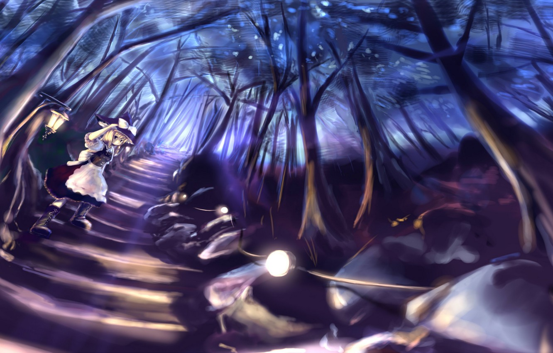 Photo wallpaper road, forest, girl, trees, night, nature, anime, art, lights, Touhou, Kirisame Marisa