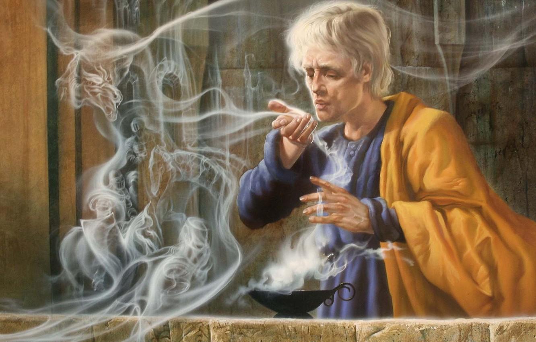 Photo wallpaper magic, dragon, smoke, lamp, spirit, art, male, the sorcerer
