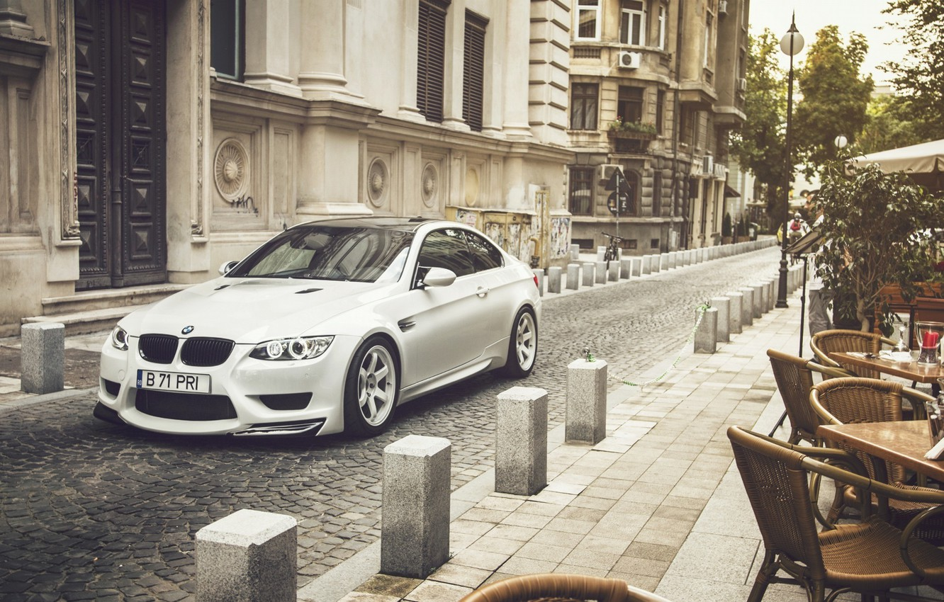 Photo wallpaper BMW, City, Car, Front, White, E92, Tuning, Sport