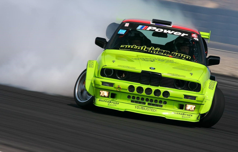 Photo wallpaper Smoke, BMW, BMW, Yellow, Drift, Drift, Yellow, Smoke, E30, 3 Series