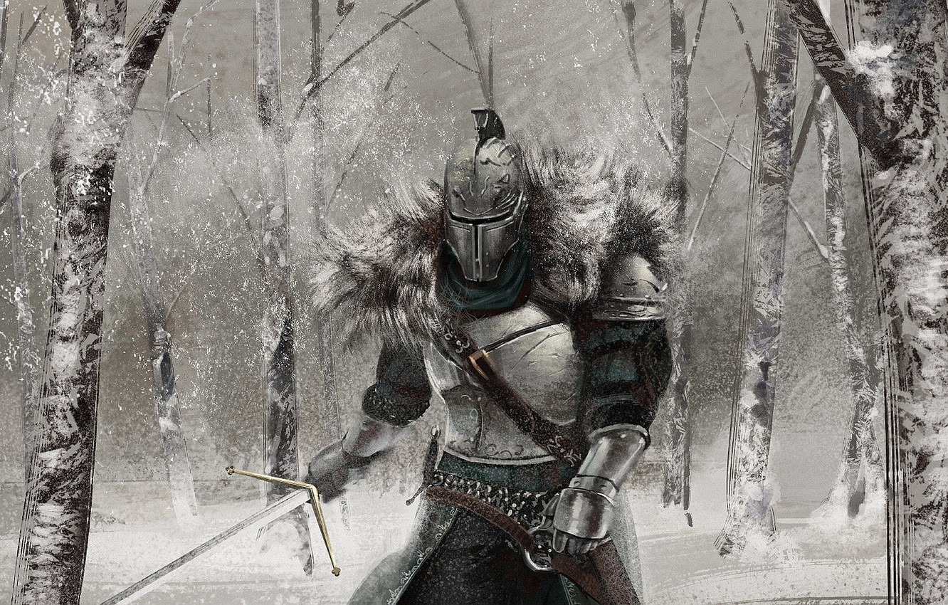 Wallpaper Knight Snow Dark Souls 2 Winter Art Armor Sword