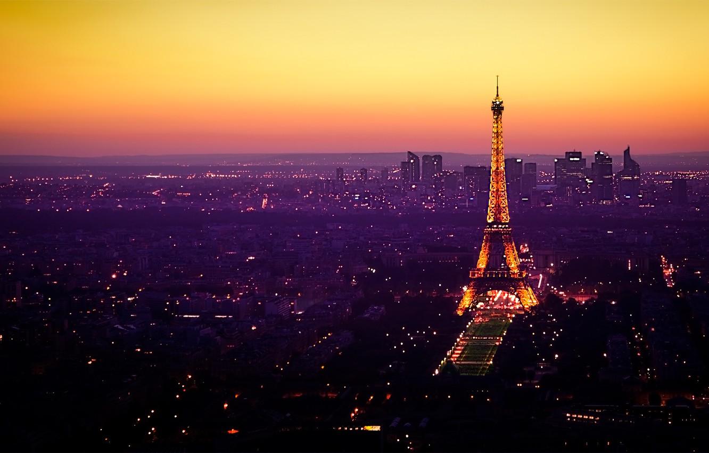 Photo wallpaper lights, France, Paris, Eiffel tower, twilight