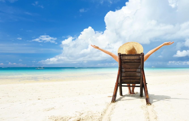 Photo wallpaper relax, light, girl, summer, beach, sky, hat, water, sun, sand, boat, situation, vacation, Sea, beach …