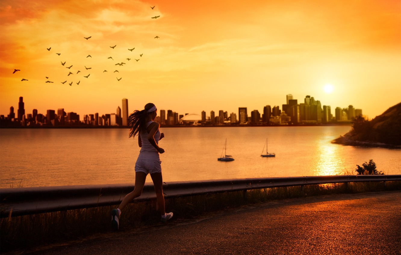 Photo wallpaper road, sea, water, girl, the sun, sunset, birds, reflection, river, background, street, sport, woman, building, …
