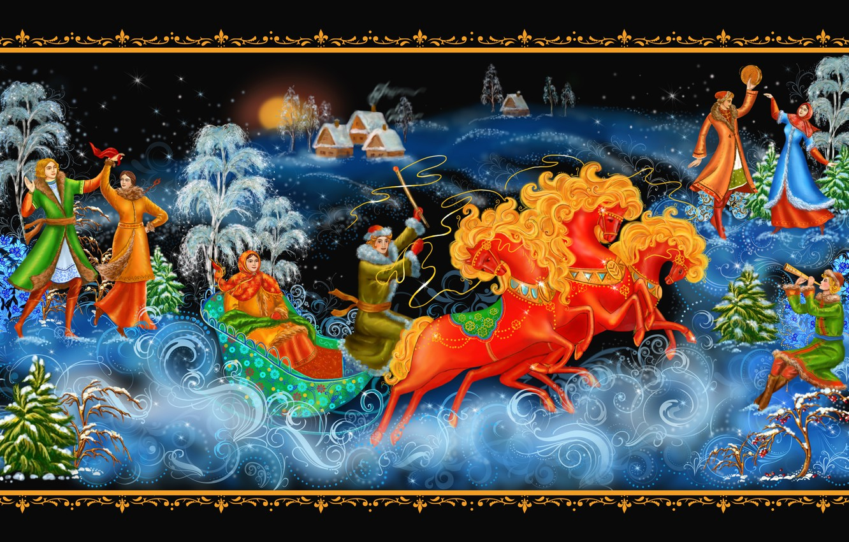 Photo wallpaper Christmas, New year, dancing, sleigh, three, painting, Palekh miniature, Palekh