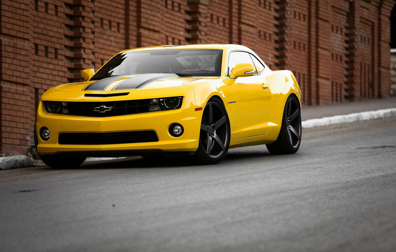 Photo wallpaper Road, Yellow, Chevrolet, Strip, Wheel, Muscle, Light, Camaro, Lights, Car, Front, Before, Yellow, View, Road, …