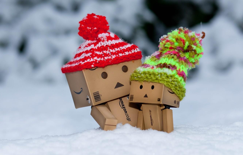 Photo wallpaper winter, snow, box, frost, caps, danbo