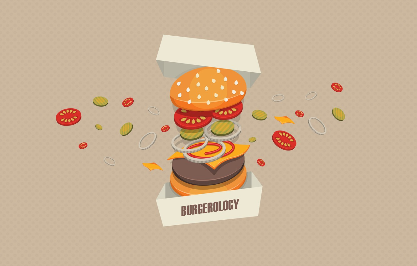 Photo wallpaper background, box, meat, vegetables, Burger, Burgerology