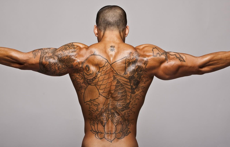Photo wallpaper back, fish, tan, tattoo, male, tattoo, muscle, relief