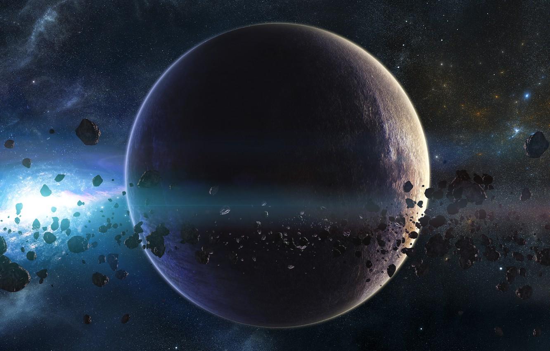 Photo wallpaper planet, stars, asteroids, galaxy, belt