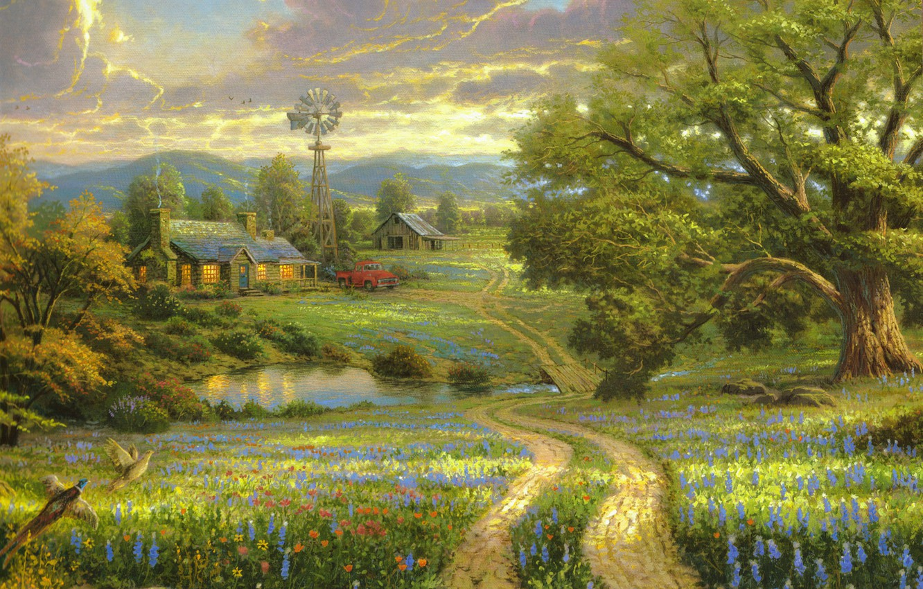 Photo wallpaper field, machine, flowers, mountains, birds, nature, lake, house, tree, wooden, house, painting, the bridge, large, …