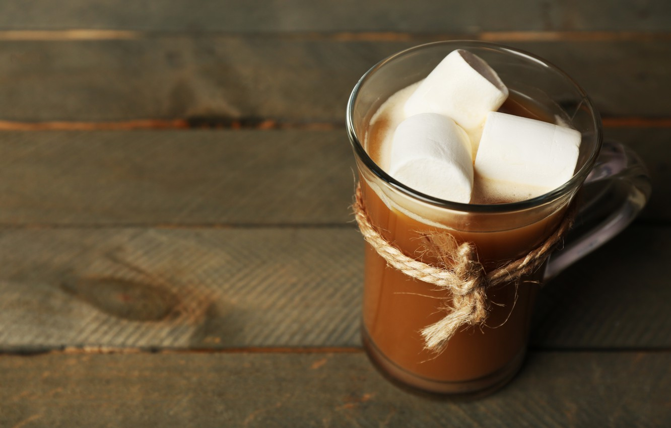Photo wallpaper chocolate, hot, cup, chocolate, cocoa, cocoa, marshmallows, marshmallow