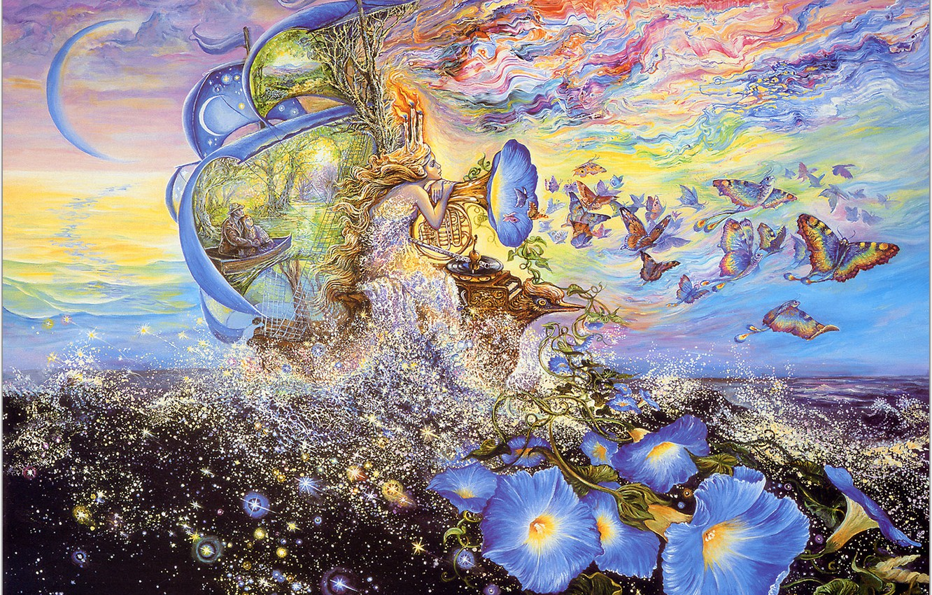 Photo wallpaper sea, butterfly, flowers, fantasy, ship, Josephine Wall, Andromedas Quest, music