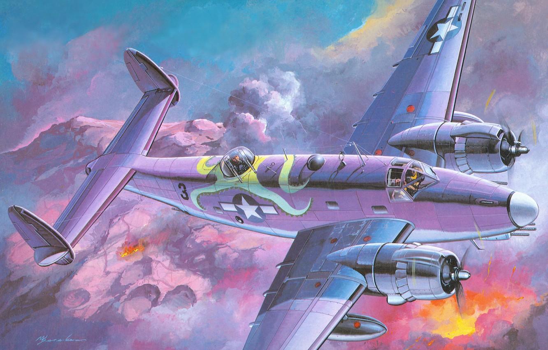 Photo wallpaper the sky, clouds, fire, earth, figure, explosions, art, bomber, American, sea, Lockheed, shock, twin-engine, WW2, …