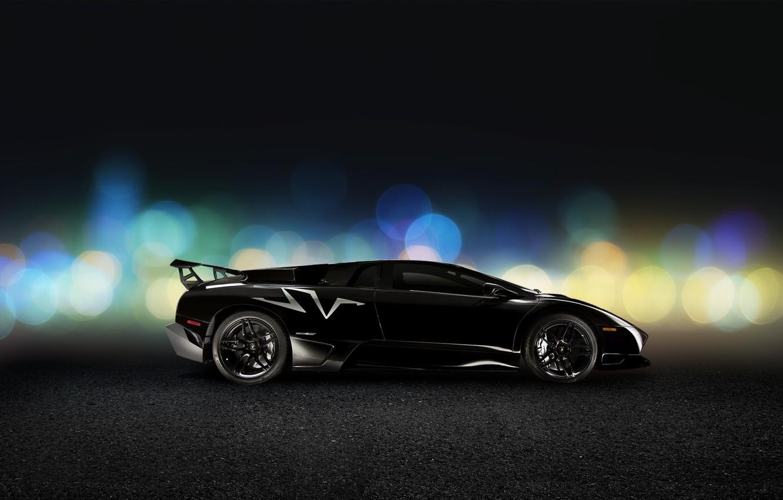 Photo wallpaper Lamborghini, Black, Murcielago, Side, LP670-4, Super, Veloce