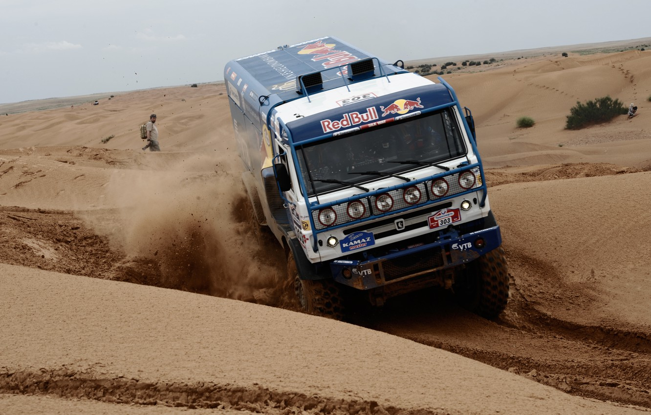 Photo wallpaper sand, the sky, desert, people, speed, dust, KAMAZ, kamaz, silk road, kamaz master, KAMAZ master