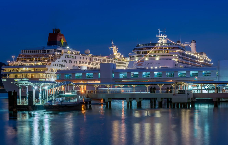 Photo wallpaper lights, ship, pier, port, Singapore, liner