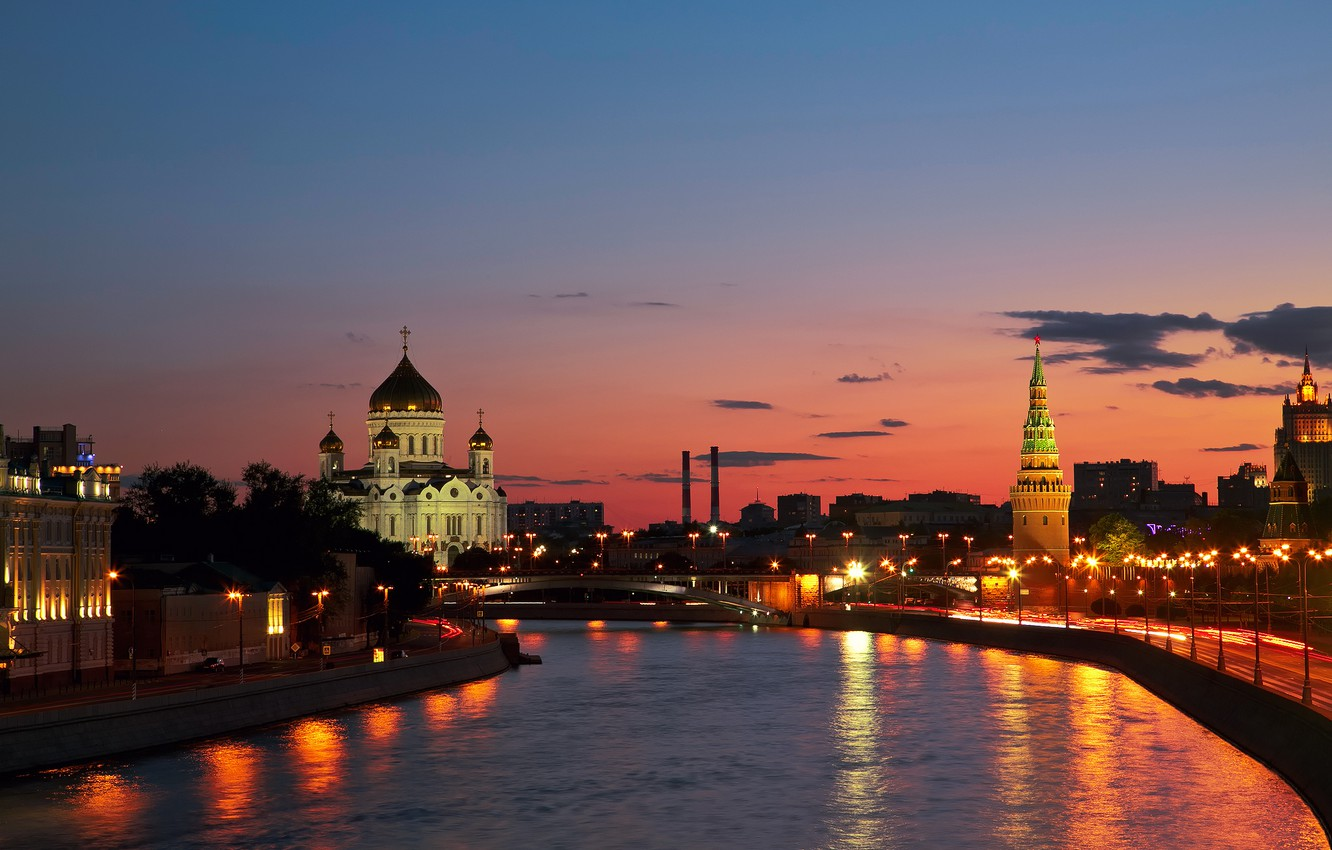 Photo wallpaper sunset, the city, river, Moscow, Russia