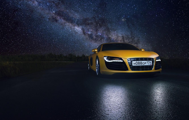 Photo wallpaper Audi, Star, Space, Night, Yellow, Road, Supercar, Reflection
