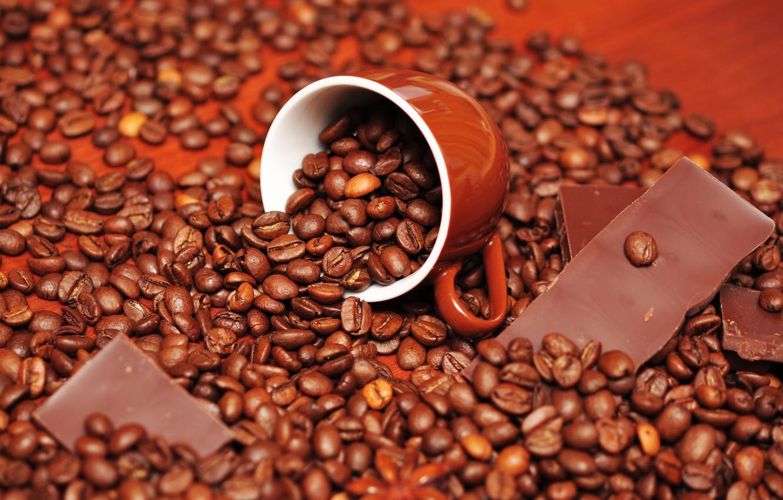 Photo wallpaper coffee, chocolate, grain, Cup, delicious