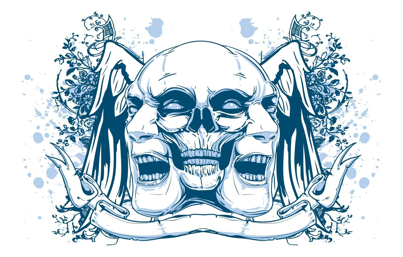 Photo wallpaper Minimalism, Skull, Psychedelic, White, Face