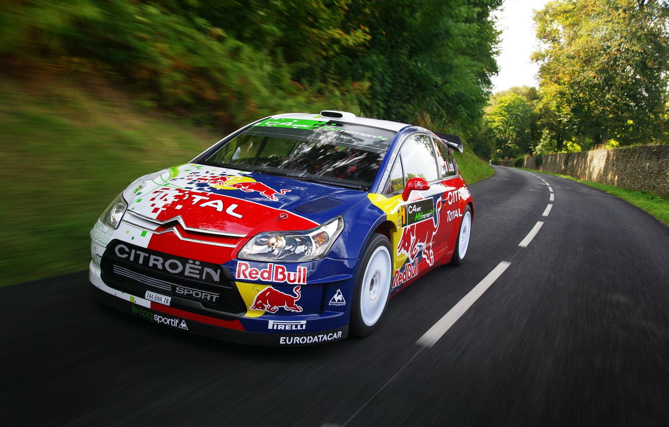 Photo wallpaper Road, Speed, Citroen, Car, Red Bull, Rally, The front, S. Loeb