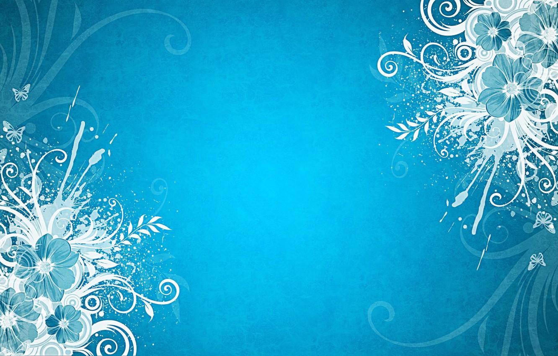 Photo wallpaper butterfly, flowers, blue background