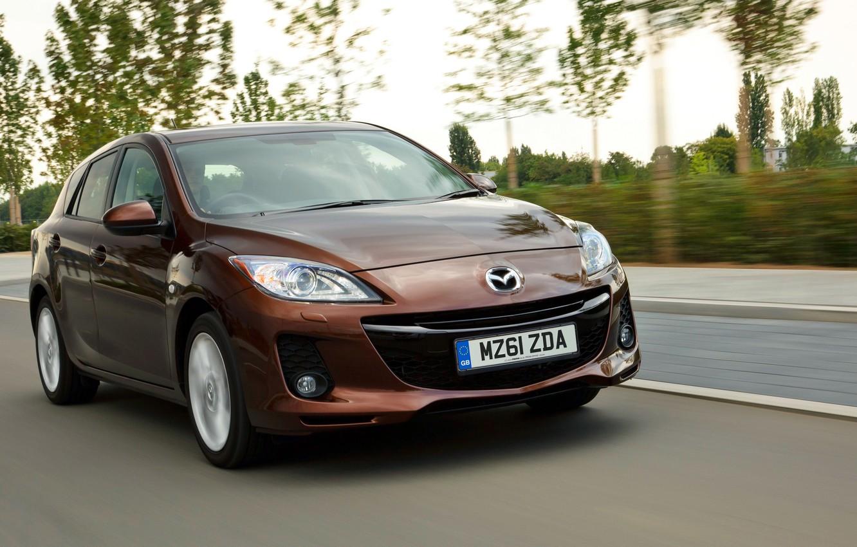 Photo wallpaper auto, speed, sport, Mazda, brown, hatchback
