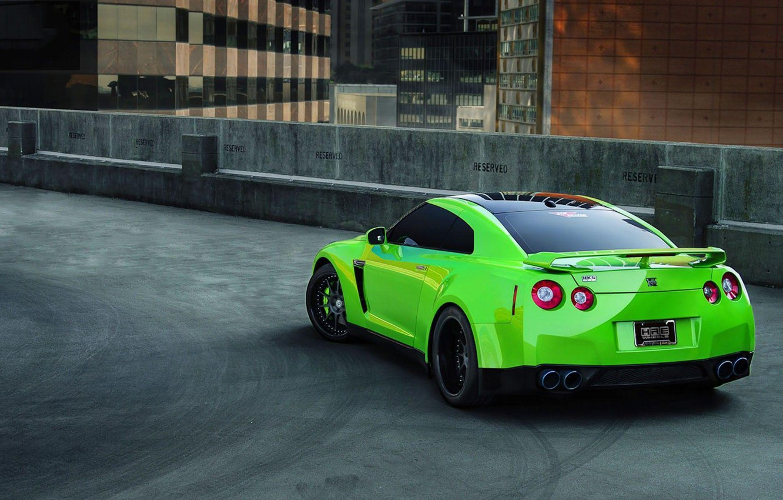 Photo wallpaper green, Parking, sports car, r35, nissan gtr