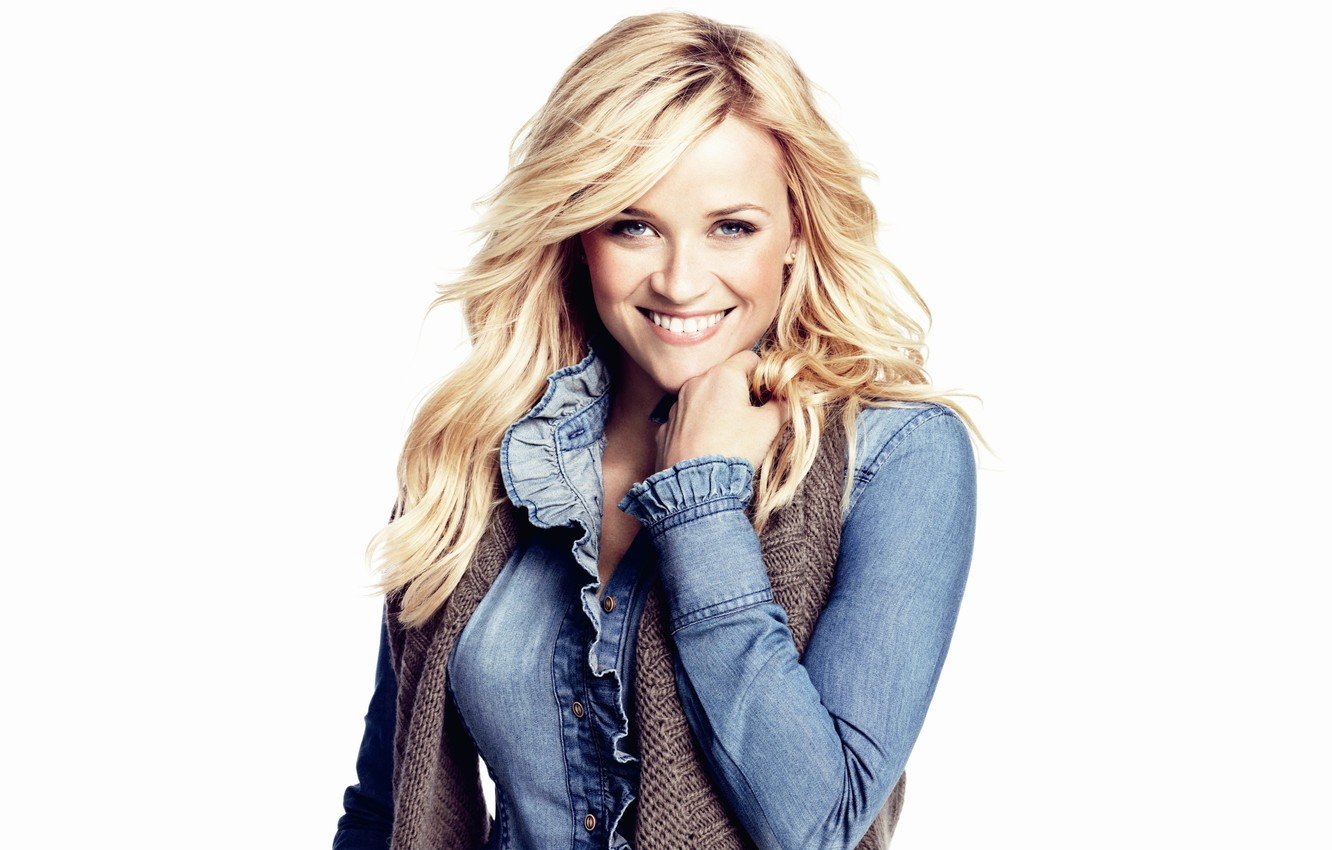Photo wallpaper smile, model, makeup, scarf, actress, hairstyle, blonde, white background, jacket, dzhinsovka, Reese Witherspoon, Reese Witherspoon