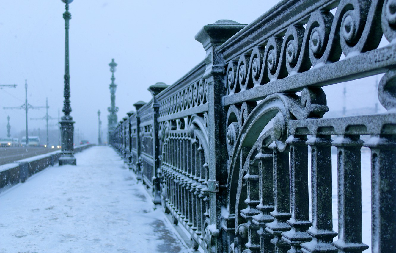 Photo wallpaper winter, bridge, the city, frost, Saint Petersburg, bridge, winter, St.Petersburg, Trinity
