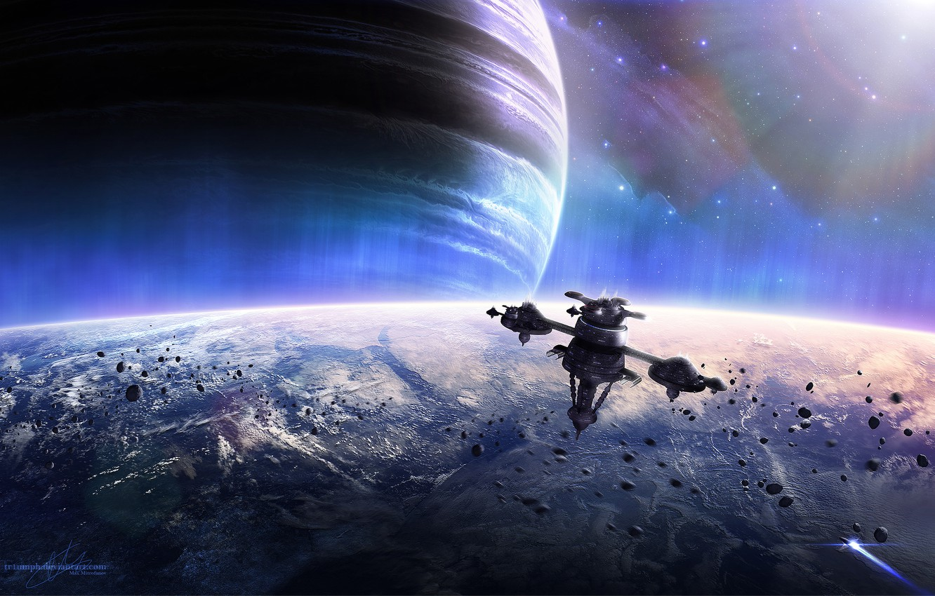 Photo wallpaper Stars, Planet, Planets, Stars, Space, Spacecrafts, Earth, Spaceship, Meteoroids