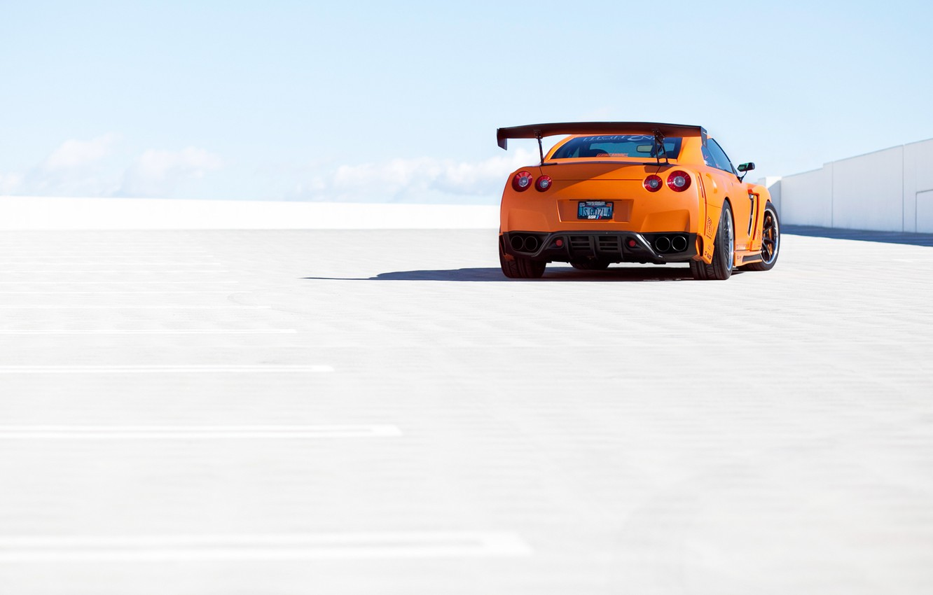 Photo wallpaper the sky, orange, Parking, Nissan, GT-R, Nissan, rear, orange, R35