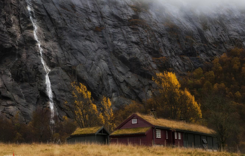 Photo wallpaper autumn, mountains, house, waterfall, Norway, Viggo Johansen Photography, Stavanger, Rogaland