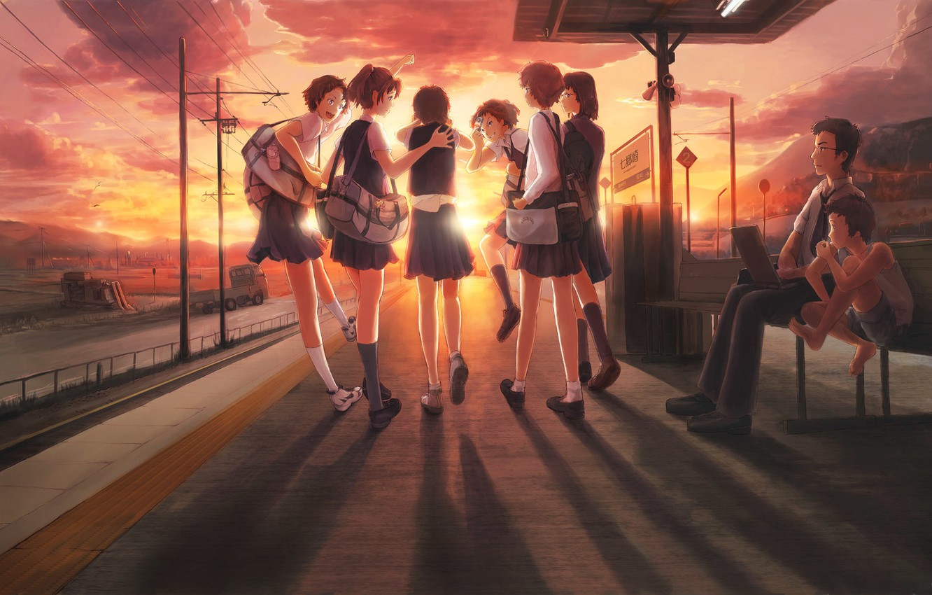 Photo wallpaper machine, the sky, clouds, sunset, bench, girls, posts, wire, anime, boy, signs, art, the camera, …
