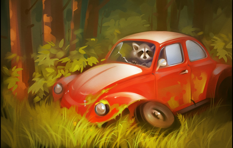 Photo wallpaper auto, forest, trees, beetle, art, wheel, raccoon, car, the bushes