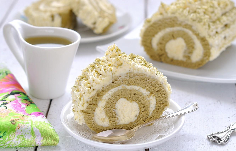 Photo wallpaper tea, cream, dessert, biscuit, roll