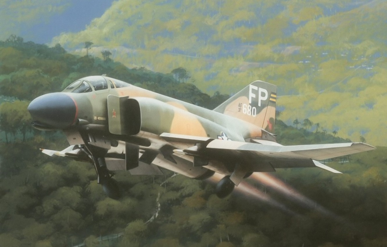 Wallpaper F 4 Phantom Drawinf Jet Aviation Aircraft Painting
