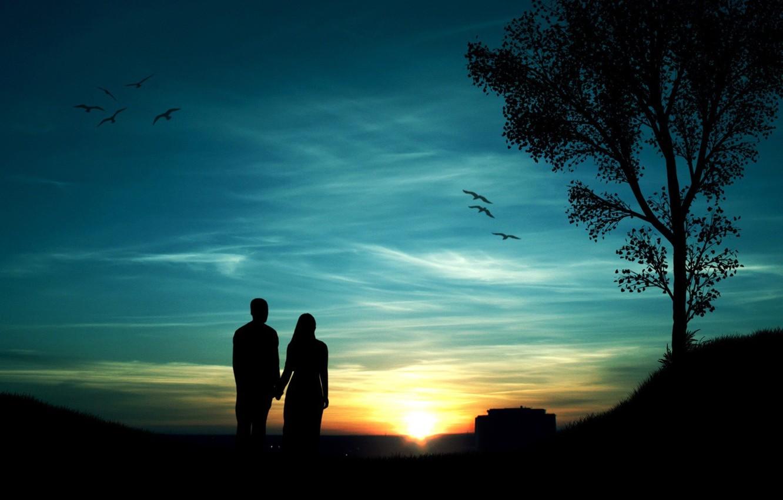 Photo wallpaper the sky, girl, the sun, sunset, birds, tree, guy
