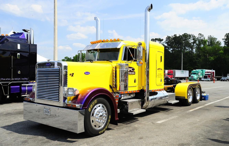 Photo wallpaper Yellow, Truck, Peterbilt, Cool Paint