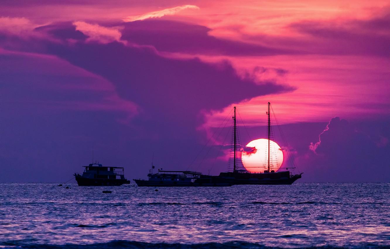 Photo wallpaper the sun, sunset, the city, ships, Thailand, The Gulf of Thailand, Pattaya