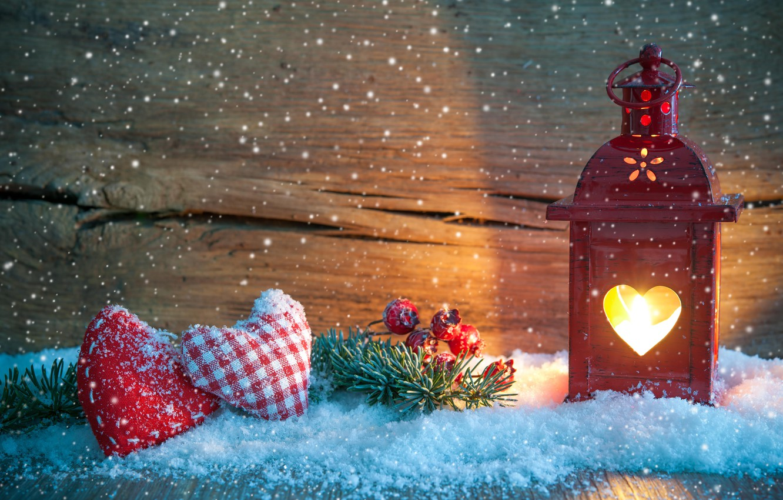 Photo wallpaper snow, decoration, branch, Christmas, lantern, hearts, New year