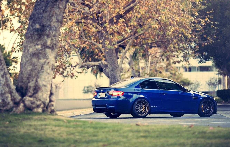 Photo wallpaper BMW, Parking, blue, E92