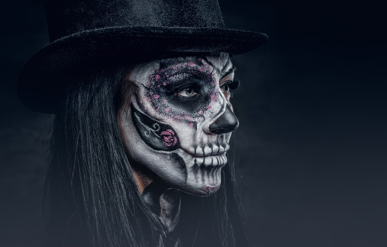 Wallpaper Makeup Hatter Day Of The Dead Woman Images For