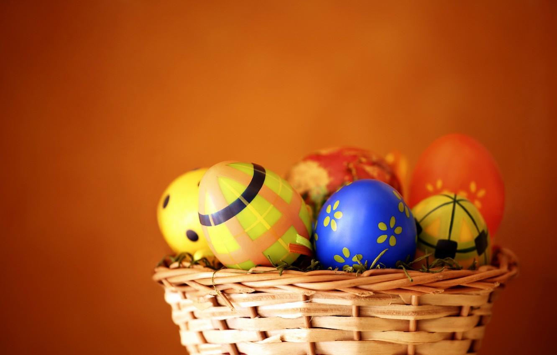 Photo wallpaper eggs, spring, Easter, basket