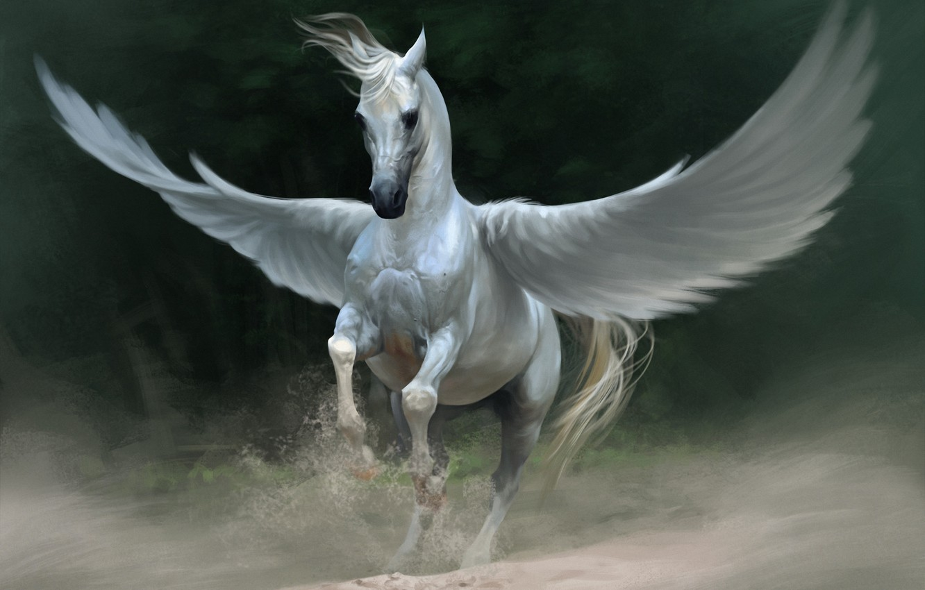 Photo wallpaper sand, white, horse, wings, dust, fantasy, art, Pegasus, Lin Zhou