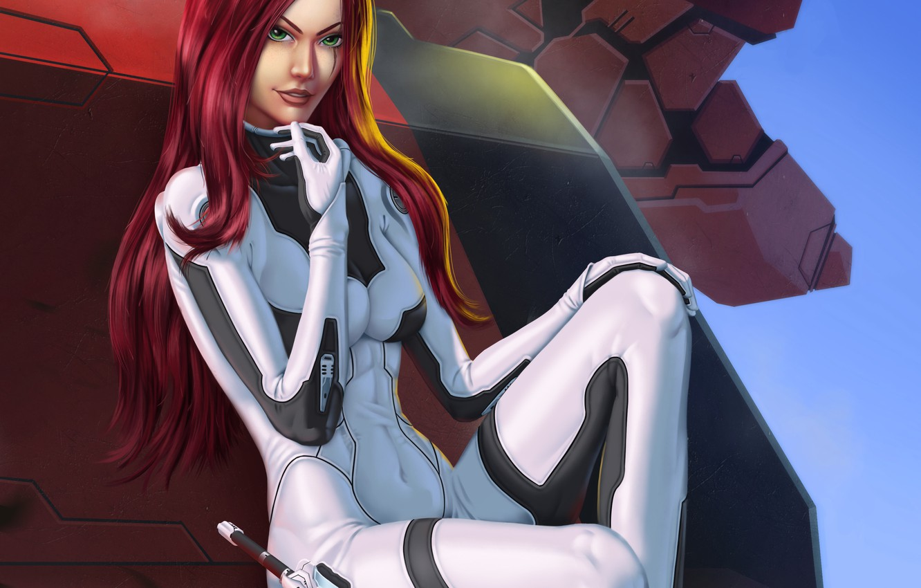 Photo wallpaper weapons, fiction, art, costume, sits. pose, girl. red hair