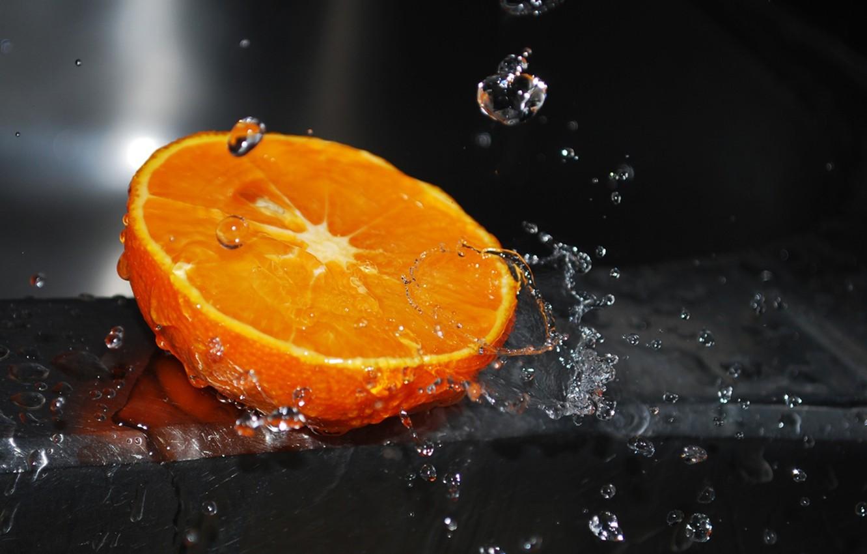 Photo wallpaper water, drops, macro, squirt, orange, water, orange