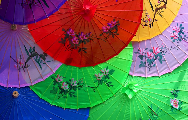 Photo wallpaper flowers, umbrella, pattern, China, Asia, Japan, umbrella